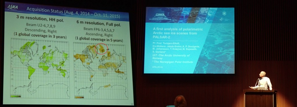 In the left part of the image (red circle) the amount of images taken over the N-ICE area is visible. We are very grateful to JAXA for all these images. On the right Torbjørn giving his presentation