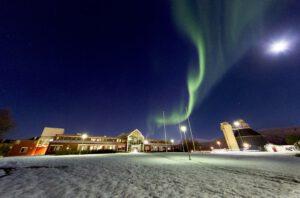 Northern lights over UiT, campus Tromsø