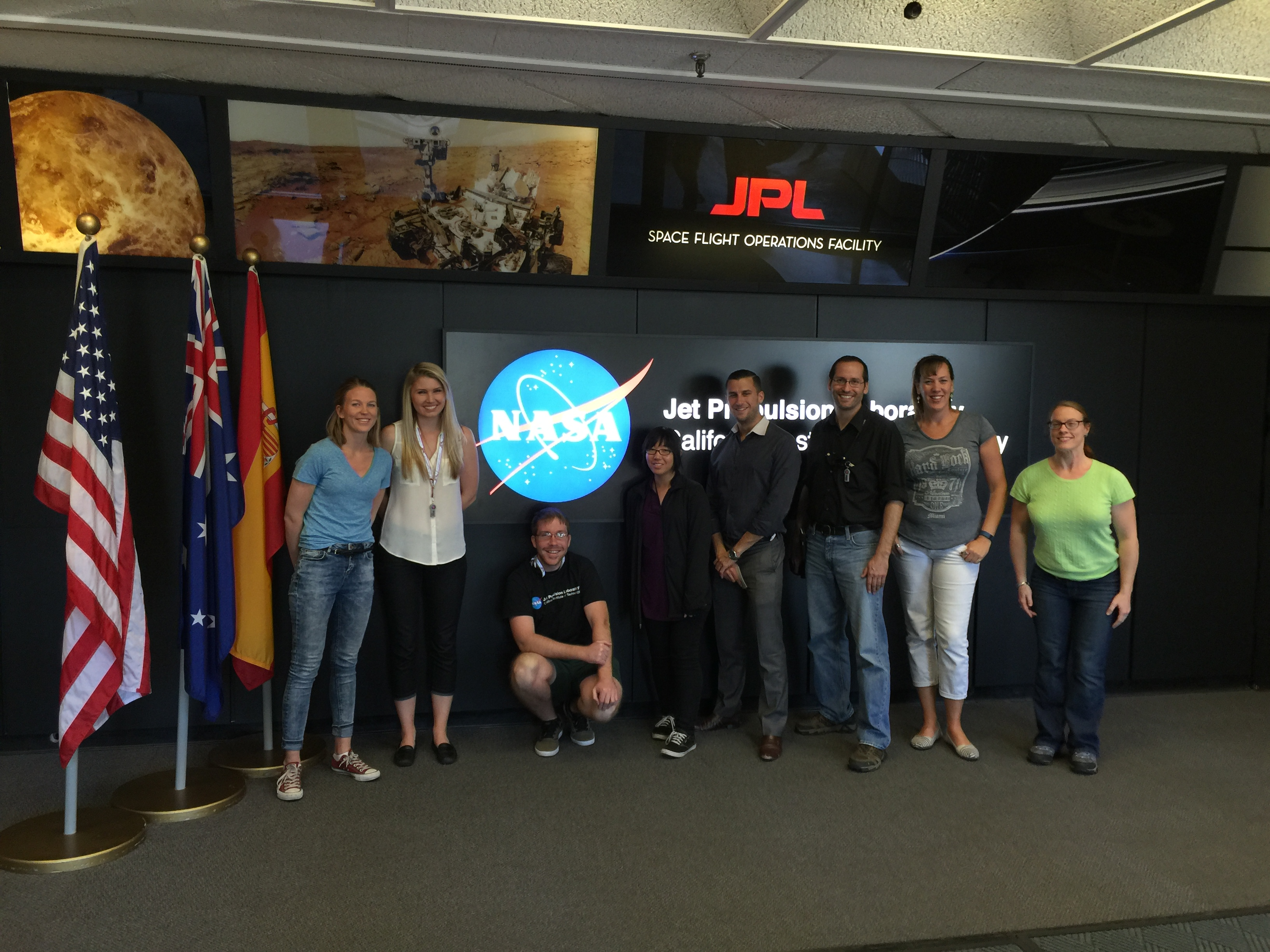 CIRFA PhD student Martine Mostervik Espeseth is currently studying abroad at NASA Jet Propulsion Laboratory (JPL) in California. From left: Martine Espeseth, Brittany Zajic, Mark Barker, Erika Higa, Steven Kerns, Nick Rousseau, Christine Elowitt and Emily Beck.