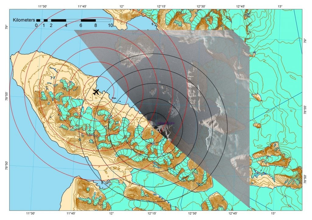 Figure 3. The map show the placement of the GPRI radar and the radar coverage, the rings indicate the distances from the radar to the different observation points and red rings distance from the Havnerabben airport to the areas of interest.