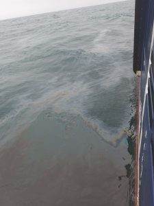 Photo of oil spill right after release. Photo by Øyvind Breivik (Met).