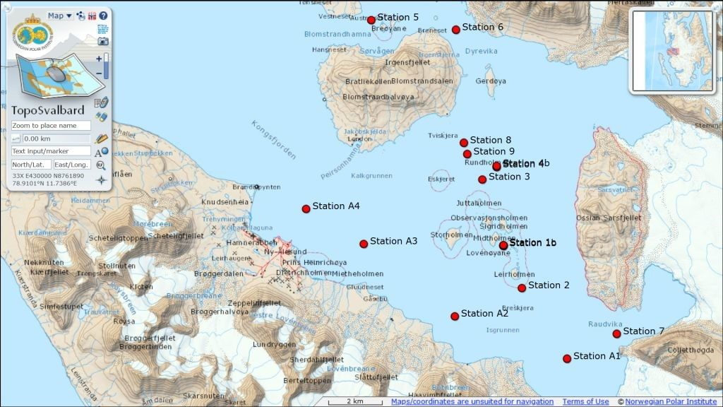 Figure 6. Map of the nine stations where in situ measurements and sampling was undertaken. Stations A1-A4 were additional open water stations, visited in connection with a parallel study on biogeochemistry.